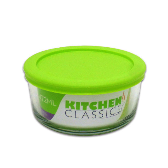 Libra 195-85906LIB Kitchen Classics Glass Round Food Storage Bowl w/Lid, 2-Cup