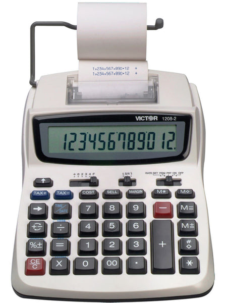 Victor 1208-2 Extra Large LCD 12-Digit Compact Commercial Printing Calculator