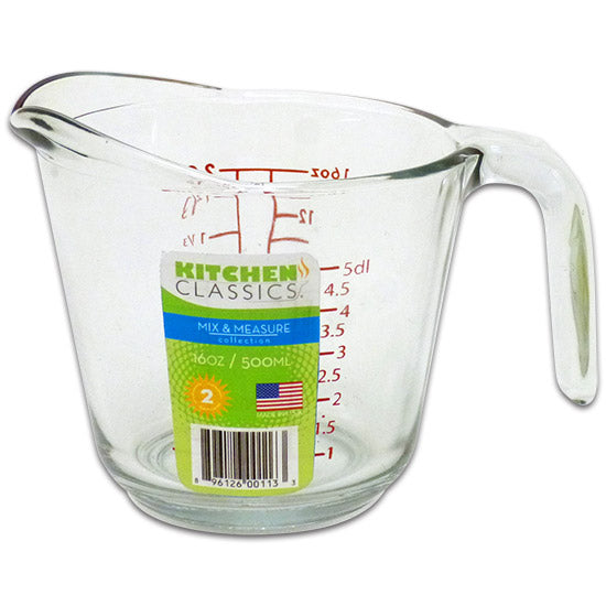 Libra 195-91660LIB Kitchen Classics Clear Glass Measuring Cup, Red Print,16 Oz