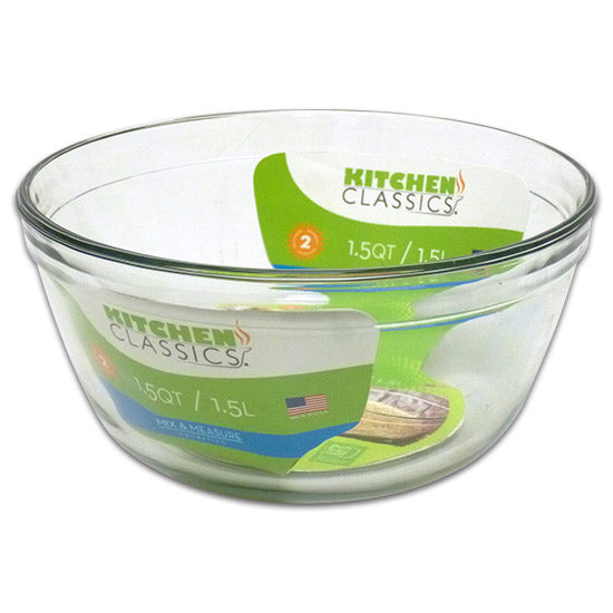 Libra 195-81574LIB Kitchen Classics Tempered Glass Mixing Bowl, Clear, 1.5 Qt