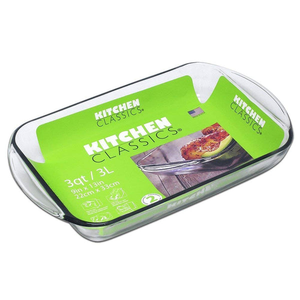 "Libra 195-67526LIB Kitchen Classics Rectangular Glass Baking Dish 3 Qt, 9""x13"""