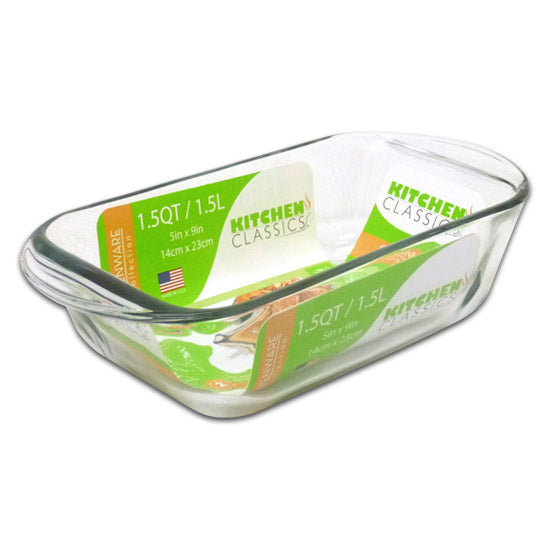 "Libra 195-67527LIB Kitchen Classics Glass Loaf Baking Dish, 1.5 Qt, 5"" x 9"""