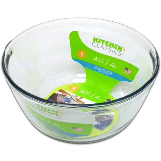 Libra 195-91662LIB Kitchen Classics Tempered Glass Mixing Bowl, Clear, 4 Qt