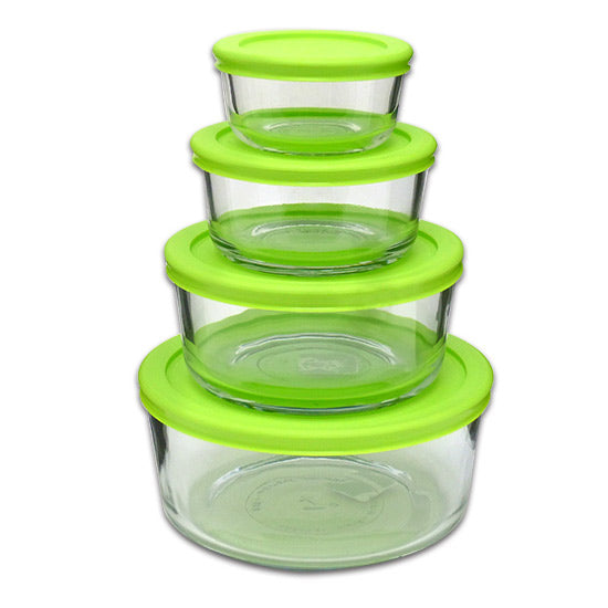 Libra 195-11468LIB Nested Round Glass Food Storage Set with Lids, 8-Piece