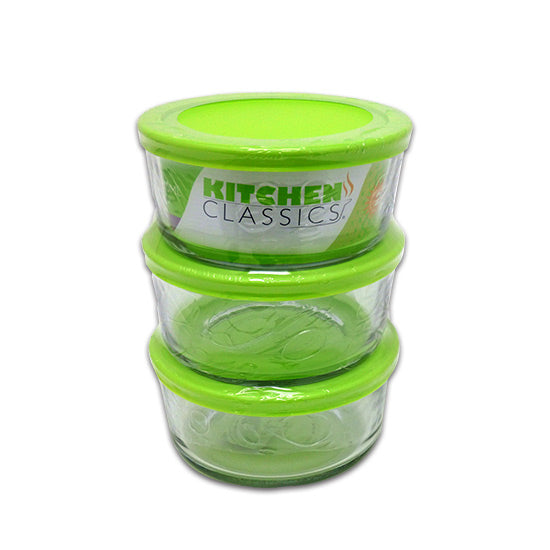 Libra 195-85907LIB Glass Round Food Storage Set with Lids, 4-Cup, 6-Piece