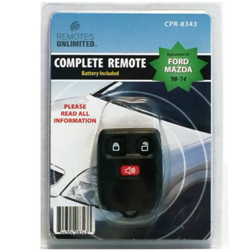 Remotes Unlimited CPR-8343 Ford/Mazda Replacement 3-Button Remote with Battery