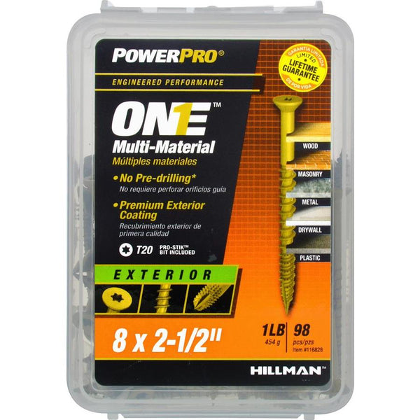 "Hillman 116828 PowerPro One Multi-Material Exterior Screws, #8 x 2.5"", 91-Pack"