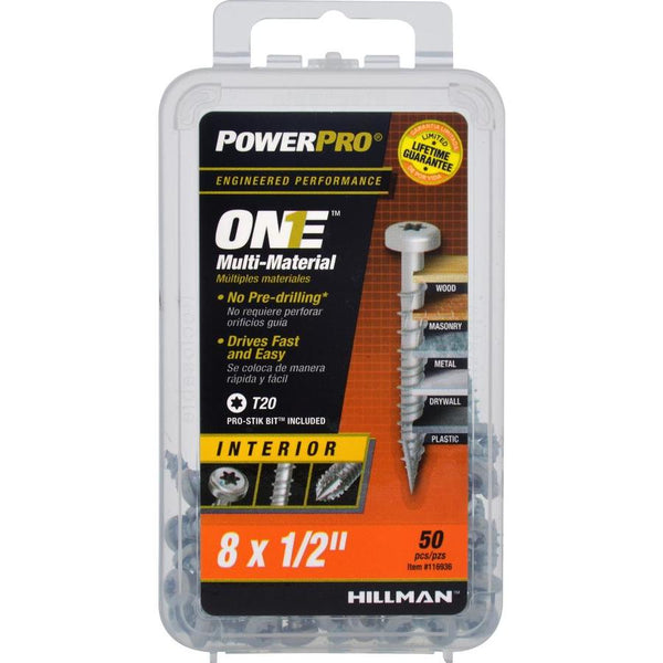 "Hillman 116936 PowerPro One Multi-Material Interior Screws, #8 x 1/2"", 50-Pack"