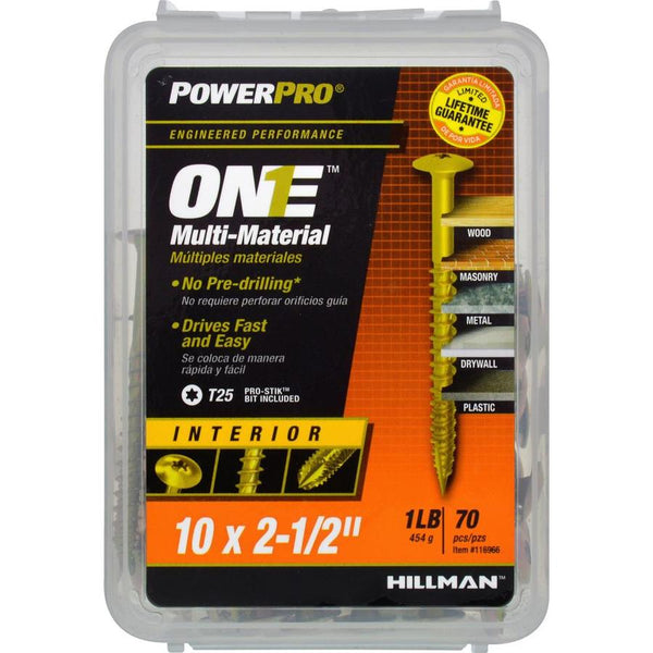 "Hillman 116966 PowerPro One Multi-Material Interior Screw, #10x2-1/2"", 70-Pack"