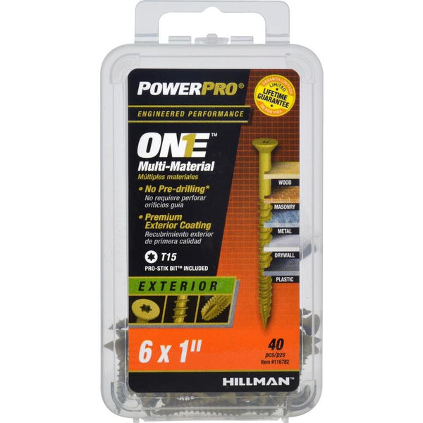 "Hillman 116782 PowerPro One Exterior Multi-Material Screws, #6 x 1"", 40-Pack"