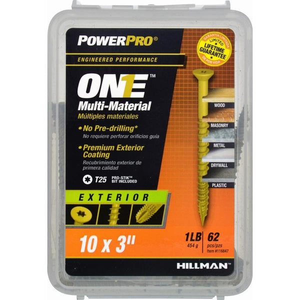 "Hillman 116847 PowerPro One Multi-Material Exterior Screws, #10 x 3"", 62-Pack"