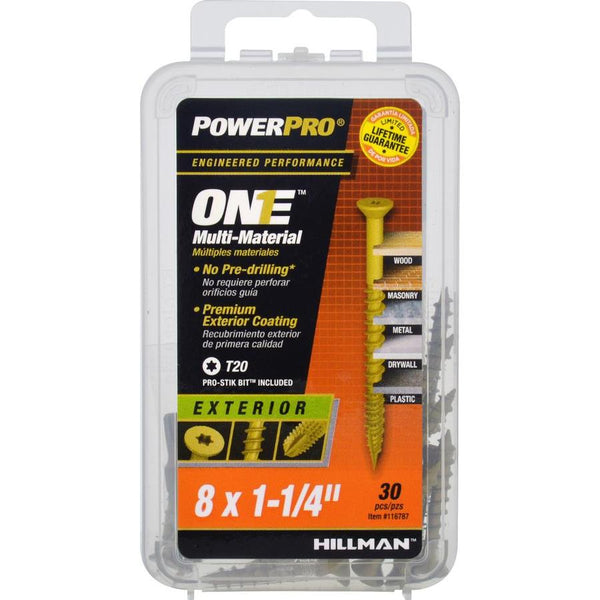 "Hillman 116787 PowerPro One Exterior Multi-Material Screw, #8x1-1/4"", 30-Pack"