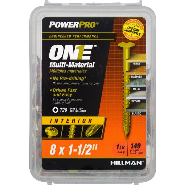 "Hillman 116957 PowerPro One Multi-Material Interior Screw, #8x1-1/2"", 149-Pack"