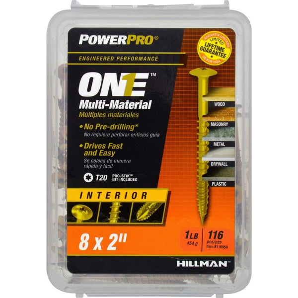 "Hillman 116959 PowerPro One Multi-Material Interior Screws, #8 x 2"", 116-Pack"