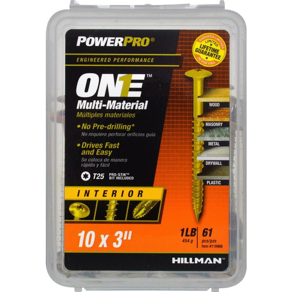 "Hillman 116968 PowerPro One Multi-Material Interior Screws, #10 x 3"", 61-Pack"