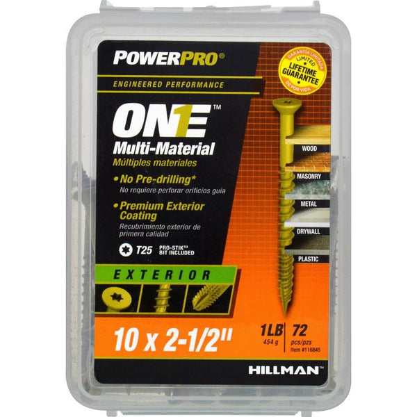 "Hillman 116845 PowerPro One Multi-Material Exterior Screw, #10x2-1/2"", 72-Pack"