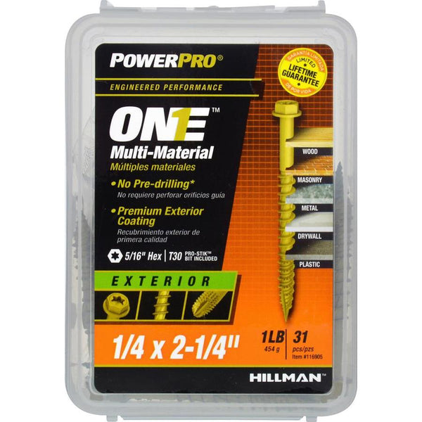 "Hillman 116905 PowerPro One Multi-Material Exterior Screw 1/4""x2-1/4"", 31-Pack"