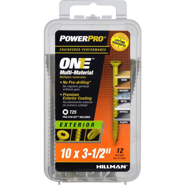 "Hillman 116805 PowerPro One Multi-Material Exterior Screw, #10 x 3.5"", 12-Pack"