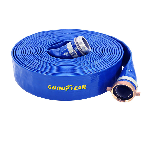 "Abbott Rubber 1148-2000-50NPSH Lay-Flat PVC Discharge Hose Assembly, 2""x50', 80 PSI"