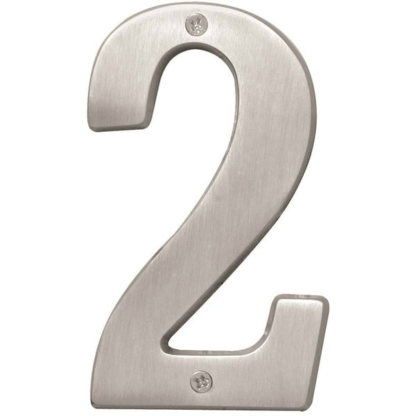 Hy-Ko BR-51SN/2 Prestige Solid Brass House Number 2, Satin Nickel, 5""