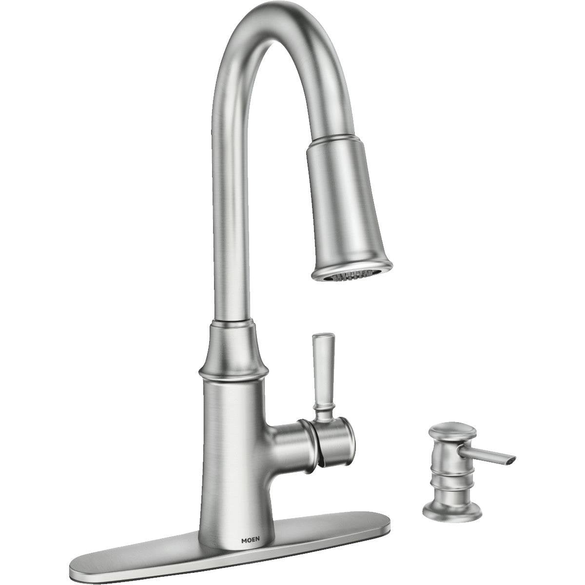 Moen 87402SRS Caris One-Handle Pull-Down High Arc Kitchen Faucet, Stai