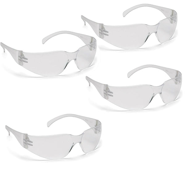 Pyramex S4110S4PK-TV General Purpose Frameless Safety Glasses, Clear, 4-Pack