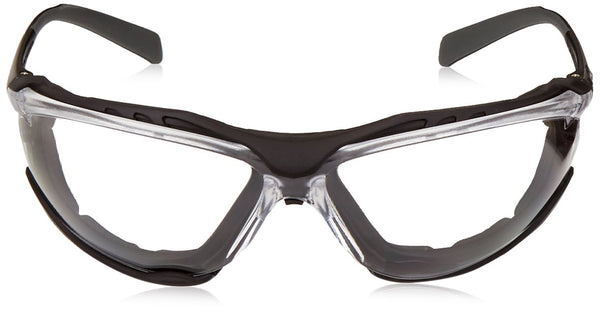 Pyramex SB9310ST-TV Foam Lined Safety Glasses, Clear Lens with Black Frame