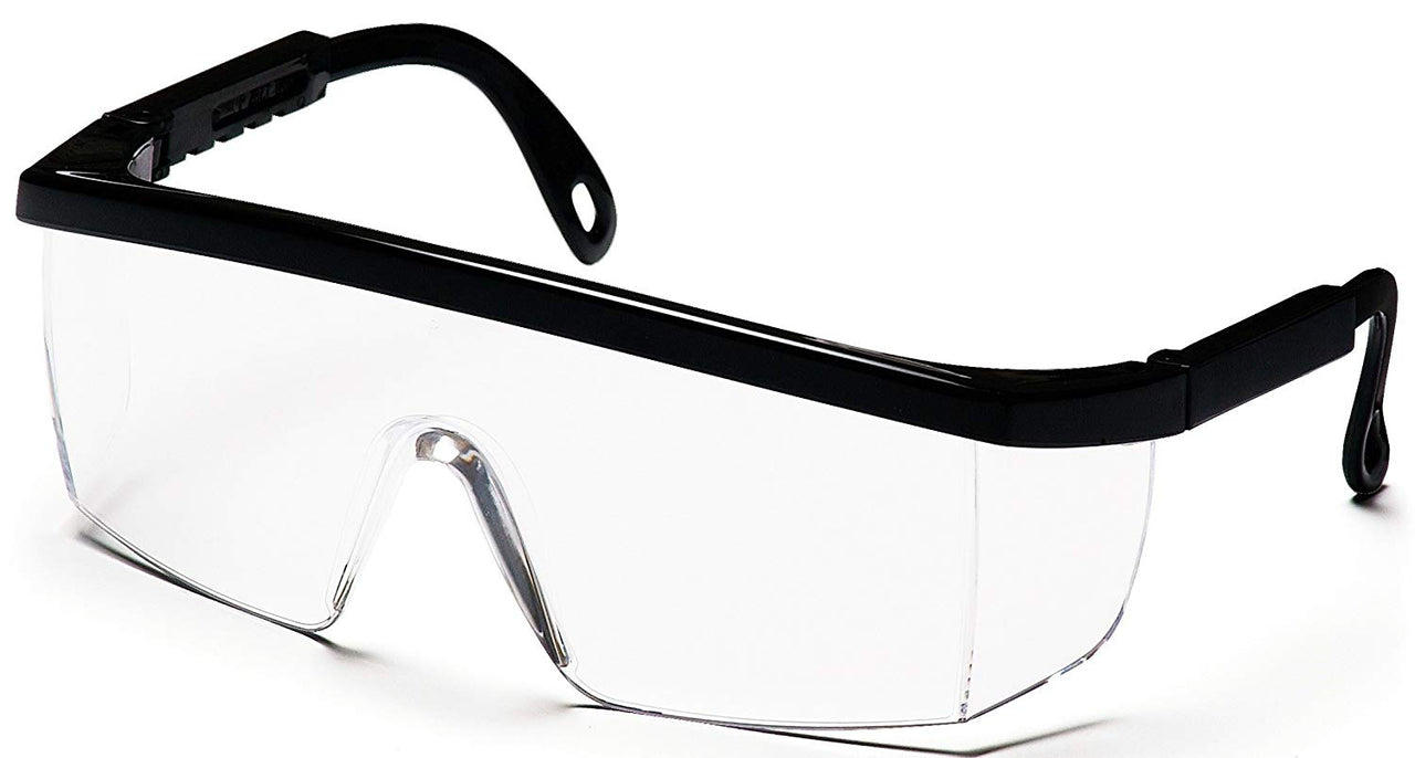 Pyramex SB410S-TV Wraparound Safety Glasses, Black Frame/Clear Lens