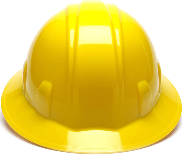 Pyramex HP24130-TV Full Brim 4-Point Ratchet Suspension Hard Hat, Yellow