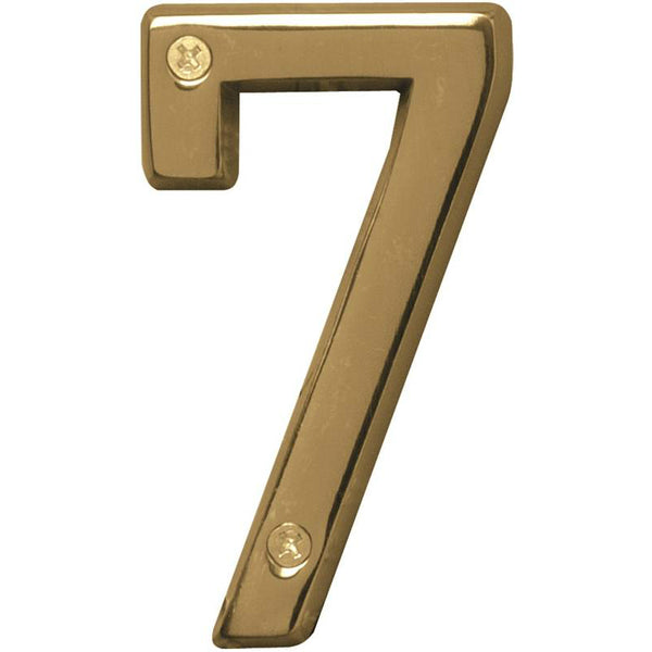 Hy-Ko BR-42PB/7 Prestige Solid Brass House Number 7, Polished Brass, 4""