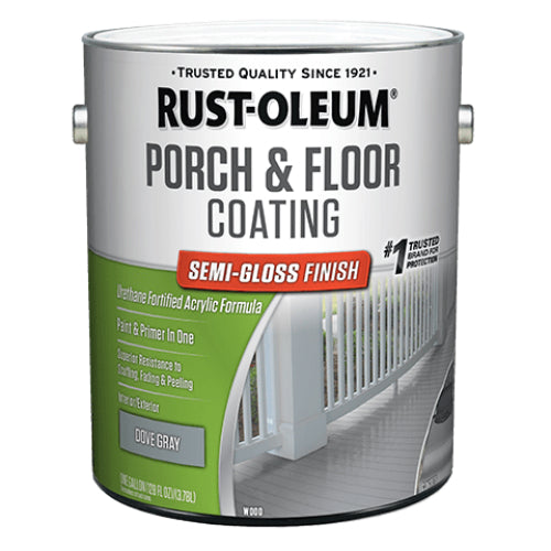 Rust-Oleum 320419 Porch & Floor Coating, Semi-Gloss, Dove Gray, Low VOC, 1-Gal