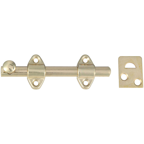 National Hardware N236-342 Steel Surface Bolt, Satin Brass, 4""