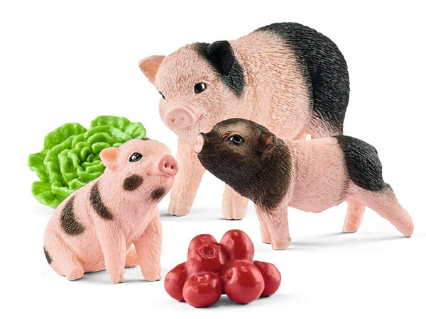 Schleich 42422 Miniature Pig Mother & Piglets Toy Play Set, For Age 3+