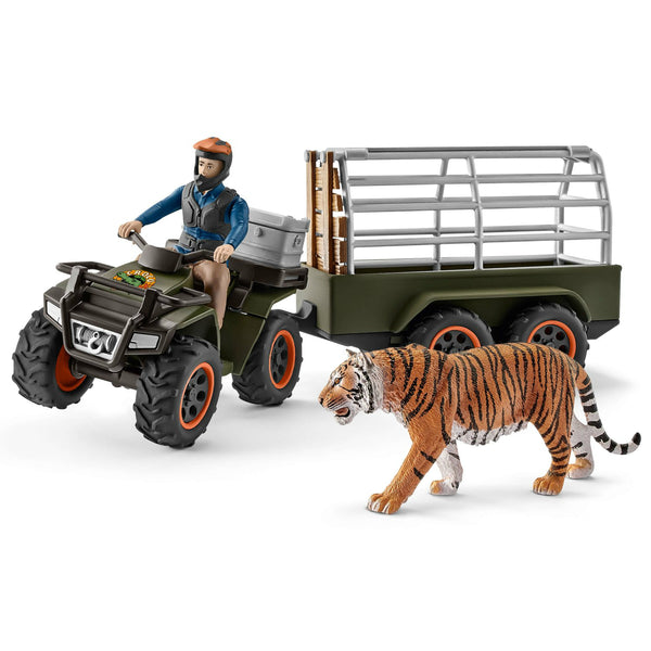 Schleich 42351 Wild Life Quad Bike with Trailer & Ranger Play Set, For Age 3+