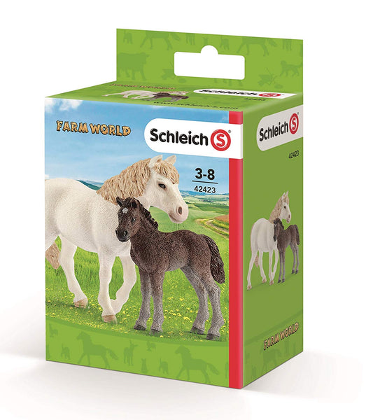 Schleich 42423 Farm World Pony Mare & Foal Toy Play Set, For Age 3+