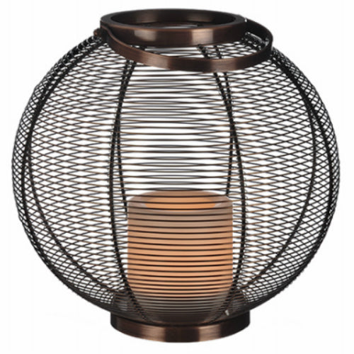 Paradise GL40010 Round Wire Basket with Flicker LED Candle, Antique Copper, 11""
