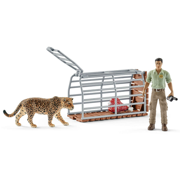 Schleich 42427 Trap with Jaguar & Ranger Toy Play Set , For Age 3+