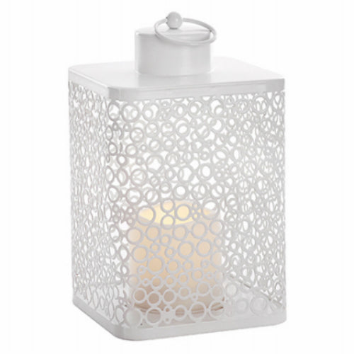 Paradise GL40268 Metal Filigree Lantern with Flickering LED Candle, White, 9""