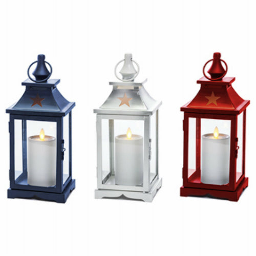 Paradise Lighting GL40025 Patriotic LED Canle Lantern with Star Cutout, 12""