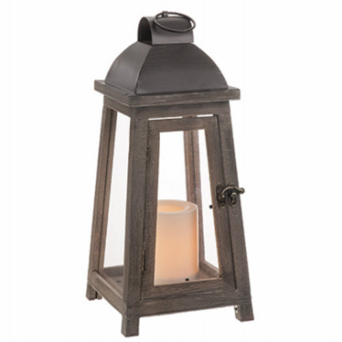 Paradise Lighting GL40012 Bleached Oak Lantern with Flickering LED Candle, 14""