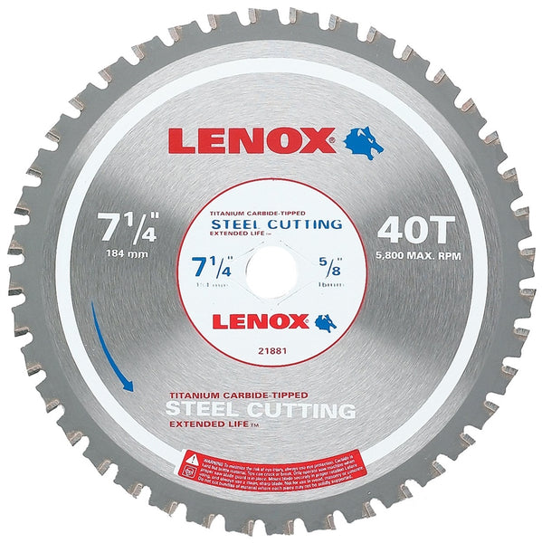 Lenox 21881ST714040CT Metal-Cutting Circular Saw Blade, 40-Teeth, 7-1/4""
