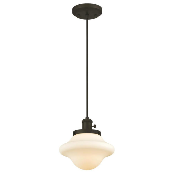 Westinghouse 63465 1-Light Mini Pendant w/ Frosted Opal Glass, Oil Rubbed Bronze