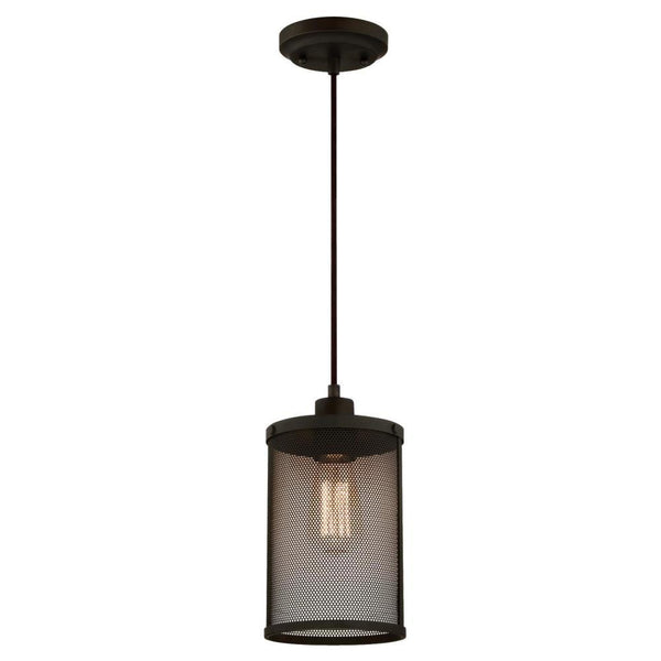 Westinghouse 63454 One-Light Mini Pendant with Mesh Shade, Oil Rubbed Bronze