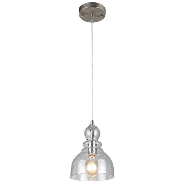 Westinghouse 61007 Adjustable Mini Pendant with Clear Seeded Glass, Br. Nickel