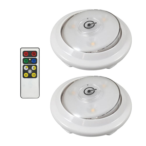 Westek LPL622WRC LED Swivel Accent Puck Light with IR Remote, White, 2-Pack