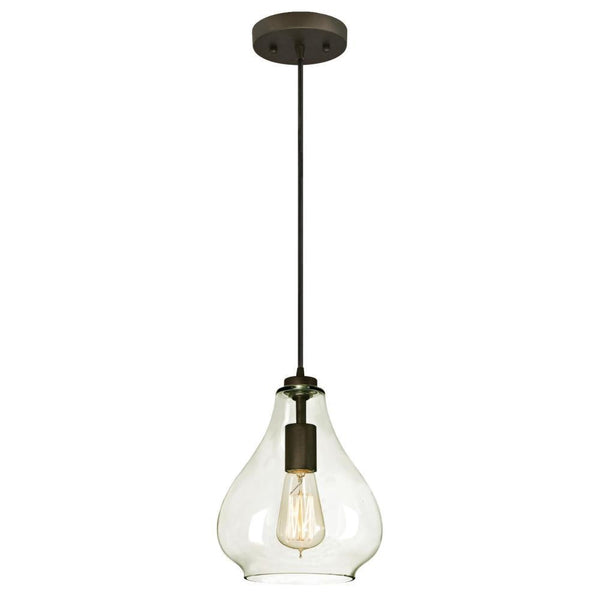 Westinghouse 61026 Adjustable Mini Pendant with Clear Glass, Oil Rubbed Bronze