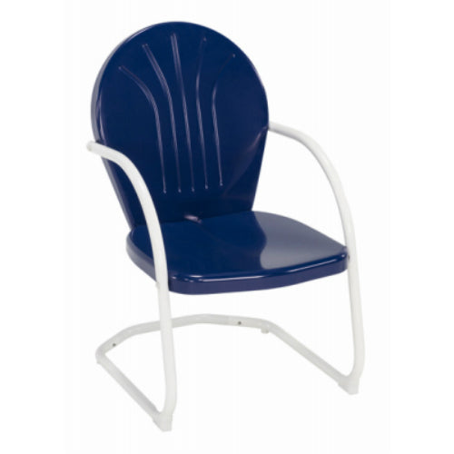 Jack-Post BH-20NV Blue Highway Steel Retro Chair, Navy Seat with White Frame