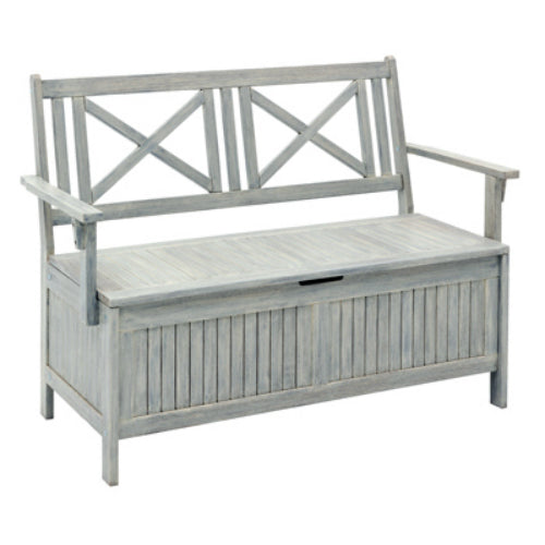Four Seasons Courtyard JPC-502GR Hardwood Storage Bench, Gray, 4'