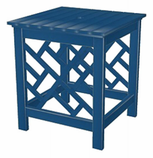 "Four Seasons Courtyard JPC-701DBL Portland Hardwood Square End Table 18"", Blue"