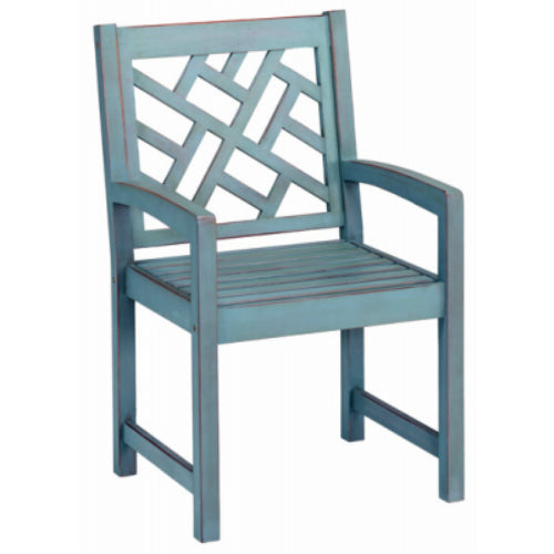 Four Seasons Courtyard JPC-601DBL Portland Hardwood Arm Chair, Blue